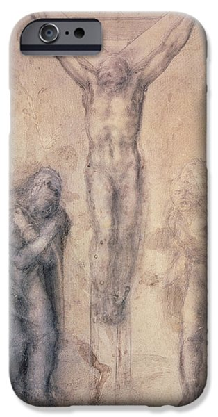 Detail Drawings iPhone Cases - Study for a Crucifixion iPhone Case by Michelangelo Buonarroti