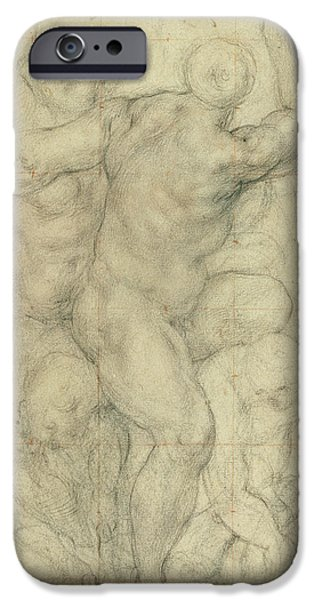Person Drawings iPhone Cases - Study for a Group of Nudes iPhone Case by Jacopo Pontormo