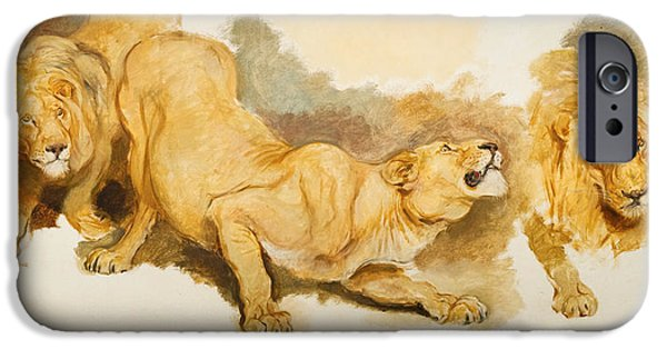 Briton iPhone Cases - Study for Daniel in the Lions Den iPhone Case by Briton Riviere