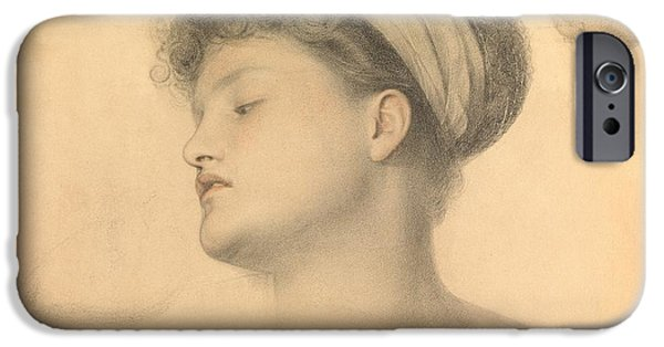 Female Drawings iPhone Cases - Study for Girl with Doves iPhone Case by Anthony Frederick Augustus Sandys