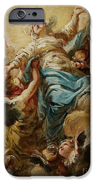 Celestial Paintings iPhone Cases - Study for the Assumption of the Virgin iPhone Case by Jean Baptiste Deshays de Colleville