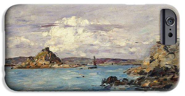 Bayside iPhone Cases - Study for The Bay of Douarnenez iPhone Case by Eugene Boudin