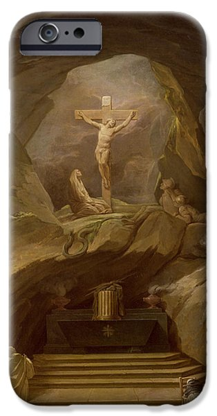 Calvary iPhone Cases - Study For The Chapelle Du Calvaire In The Eglise De Saint-roch Oil On Canvas iPhone Case by Nicolas-Bernard Lepicie