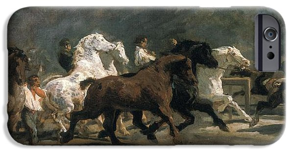 Horse iPhone Cases - Study For The Horsemarket, 1900 Oil On Canvas iPhone Case by Rosa Bonheur