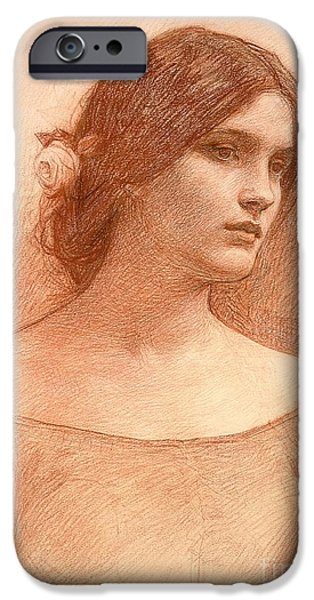 Daydream iPhone Cases - Study for The Lady Clare iPhone Case by John William Waterhouse