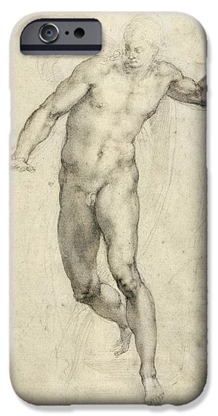 Nature Study Paintings iPhone Cases - Study for The Last Judgement  iPhone Case by Michelangelo  Buonarroti