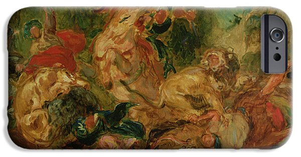 Romanticism iPhone Cases - Study For The Lion Hunt, 1854 Oil On Canvas iPhone Case by Ferdinand Victor Eugene Delacroix