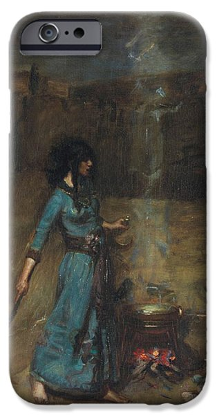 Witches iPhone Cases - Study For The Magic Circle, 1886 Oil On Canvas iPhone Case by John William Waterhouse