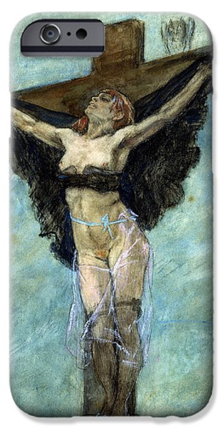 Erotica Paintings iPhone Cases - Study for The Temptation of St Anthony iPhone Case by Felicien Rops