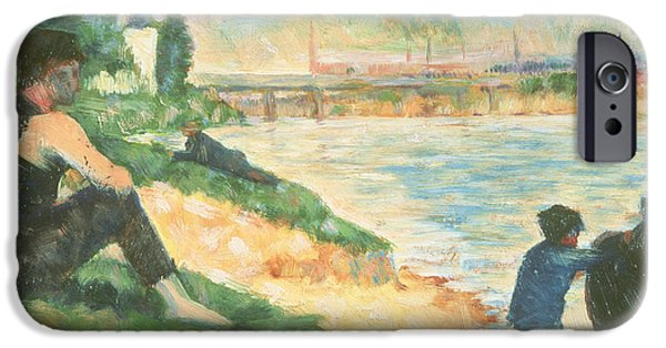 Bathing Paintings iPhone Cases - Study for Une Baignade iPhone Case by Georges Pierre Seurat