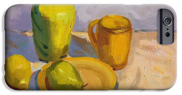 Pitcher iPhone Cases - Study in Yellow iPhone Case by Diane McClary