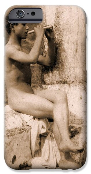 Homo-erotic iPhone Cases - Study of a Boy Playing a Flute iPhone Case by Wilhelm von Gloeden