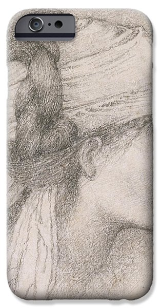 Fine Artwork iPhone Cases - Study of a female head to the right iPhone Case by Sir Edward Coley Burne-Jones