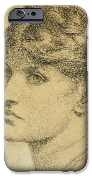 Meadow Drawings iPhone Cases - Study of a Head for The Bower Meadow iPhone Case by Dante Charles Gabriel Rossetti