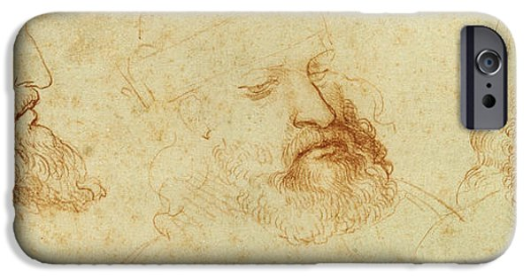 Contemplative iPhone Cases - Study of a male head iPhone Case by Leonardo Da Vinci