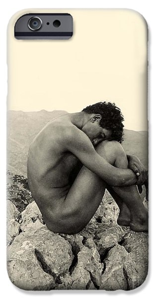 Nudes Photographs iPhone Cases - Study of a Male Nude on a Rock in Taormina Sicily iPhone Case by Wilhelm von Gloeden