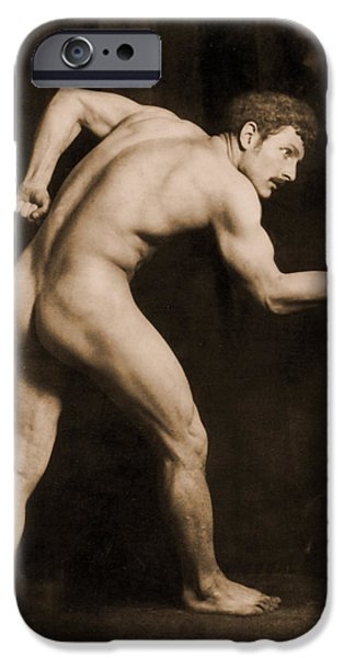 Nudes Photographs iPhone Cases - Study of a Male Nude iPhone Case by Wilhelm von Gloeden