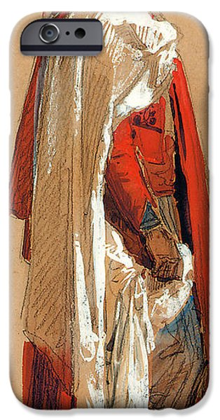Robe Drawings iPhone Cases - Study of a man in Oriental costume iPhone Case by Isidore Pils