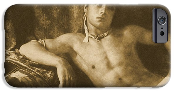 Homo-erotic iPhone Cases - Study of a Reclining Boy Wearing Jewelry iPhone Case by Wilhelm von Gloeden