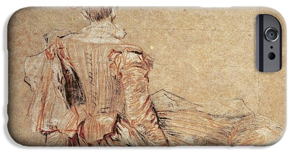 Costume iPhone Cases - Study Of A Woman Seen From The Back, 1716-18 Chalk On Paper iPhone Case by Jean Antoine Watteau