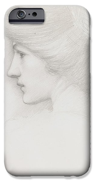 Fine Artwork iPhone Cases - Study of a womans head profile to left iPhone Case by Sir Edward Coley Burne-Jones