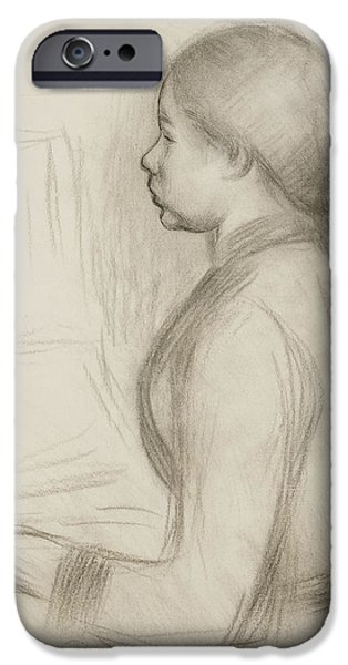 Piano Drawings iPhone Cases - Study of a Young Girl at the Piano iPhone Case by Pierre Auguste Renoir