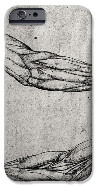 Study of Arms iPhone Case by Leonardo Da Vinci