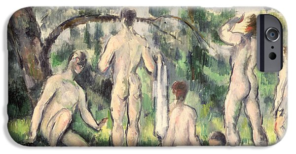 Nudes Paintings iPhone Cases - Study of Bathers iPhone Case by Paul Cezanne