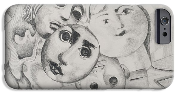 Study iPhone Cases - Study Of Faces In Pencil, 1995 Pencil On Paper iPhone Case by Carolyn Hubbard-Ford