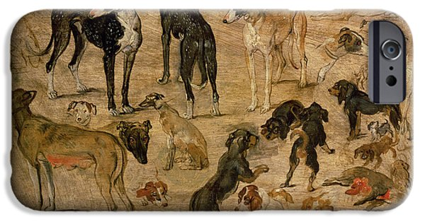 Puppies iPhone Cases - Study Of Hounds, 1616 iPhone Case by Jan the Elder Brueghel