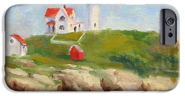 Cape Neddick Lighthouse Paintings iPhone Cases - Study of Nubble Light iPhone Case by Jason Walcott