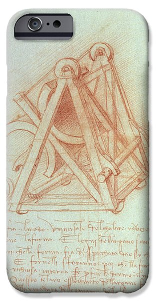 Technology iPhone Cases - Study Of The Wooden Framework With Casting Mould For The Sforza Horse, Fol. 154v From The Codex iPhone Case by Leonardo da Vinci