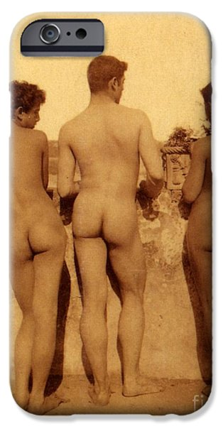 Nudity iPhone Cases - Study of Three Male Nudes iPhone Case by Wilhelm von Gloeden