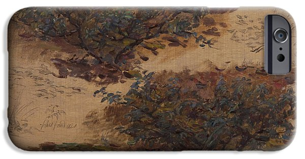 Nature Study iPhone Cases - Study Of Trees Oil On Panel iPhone Case by Henri Duhem