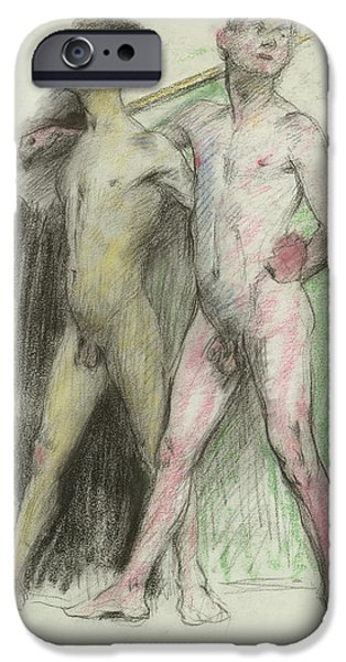 Figure iPhone Cases - Study Of Two Male Figures Pastel On Paper iPhone Case by Lovis Corinth