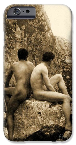 Homo-erotic iPhone Cases - Study of Two Male Nudes Sitting Back to Back iPhone Case by Wilhelm von Gloeden
