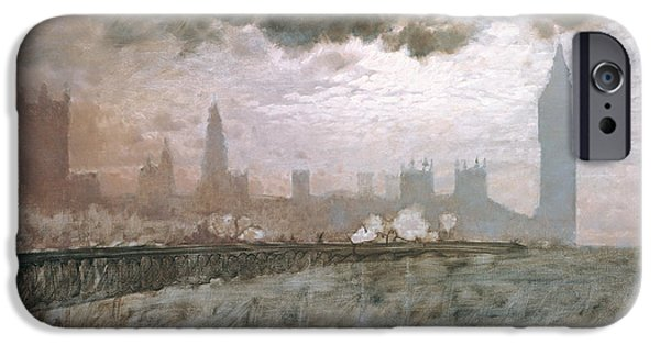 Architecture Paintings iPhone Cases - Study of Westminster Bridge iPhone Case by Giuseppe De Nittis