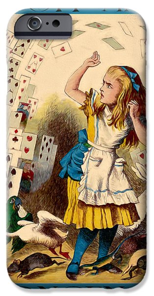Alice In Wonderland Mixed Media iPhone Cases - Stuff and Nonsense iPhone Case by John K Woodruff