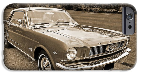 Monotone iPhone Cases - Stunning 66 Mustang in Sepia iPhone Case by Gill Billington