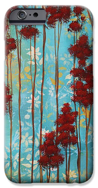 Rust iPhone Cases - Stunning Abstract Landscape Elegant Trees FLOATING DREAMS I by Megan Duncanson iPhone Case by Megan Duncanson