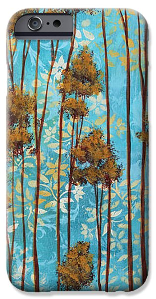 Rust iPhone Cases - Stunning Abstract Landscape Elegant Trees Floating Dreams II By Megan Duncanson iPhone Case by Megan Duncanson