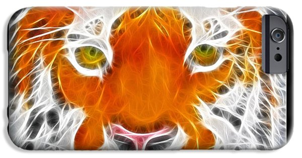 Tiger Fractal iPhone Cases - Stunning Tiger iPhone Case by Brenda Nelson