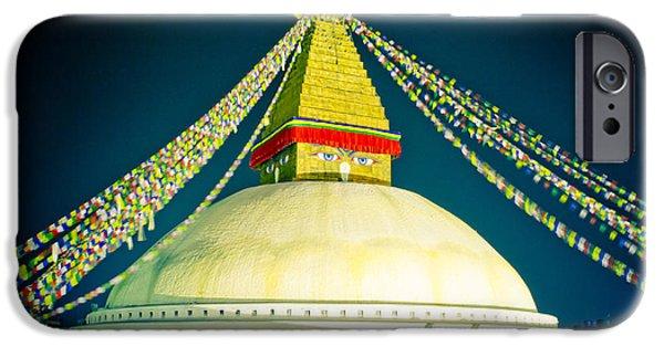 Tibetan Buddhism iPhone Cases - Stupa Boudhanath at night NEPAL Kathmandu MUKTIANTH YATRA 2013 Artmif.lv iPhone Case by Raimond Klavins
