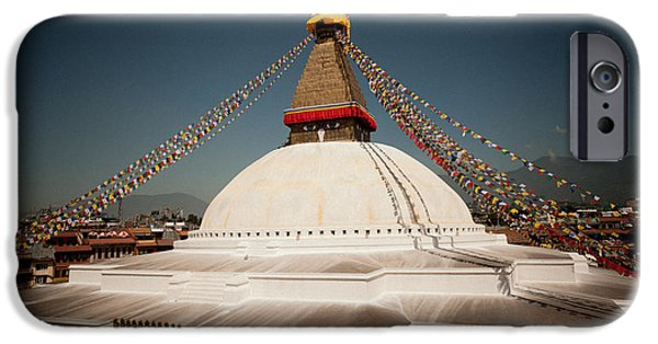 Tibetan Buddhism iPhone Cases - stupa Boudnath iPhone Case by Raimond Klavins