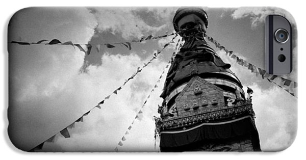 Tibetan Buddhism iPhone Cases - Stupa Swayambhunath balck and white iPhone Case by Raimond Klavins