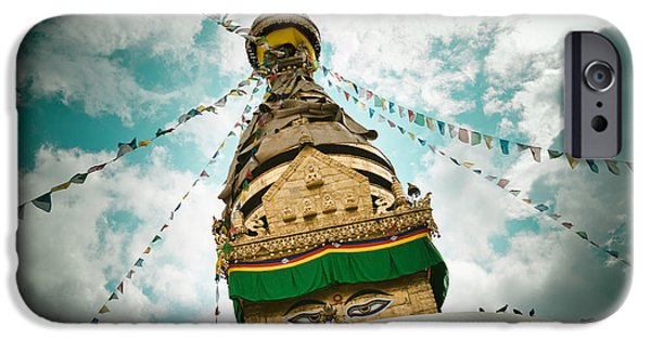 Tibetan Buddhism iPhone Cases - Stupa Swayambhunath iPhone Case by Raimond Klavins
