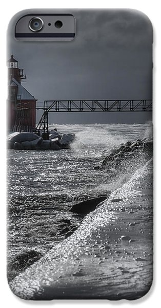 Winter Storm iPhone Cases - Sturgeon Bay After the Storm iPhone Case by Joan Carroll