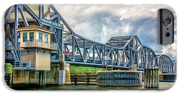 Bay Bridge iPhone Cases - Sturgeon Bay Historic Michigan Street Bridge iPhone Case by Christopher Arndt