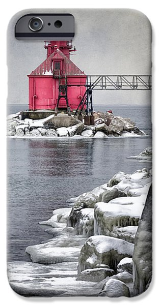 Red Rock iPhone Cases - Sturgeon Bay Pierhead iPhone Case by Joan Carroll