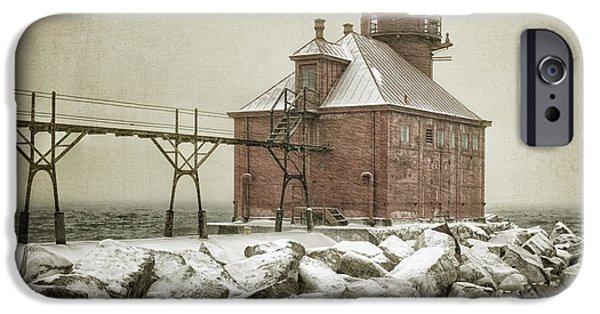 Winter Storm iPhone Cases - Sturgeon Bay Pierhead Storm iPhone Case by Joan Carroll